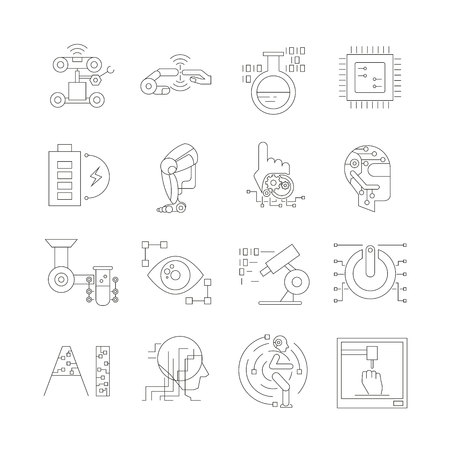 robotics and artificial intelligence icons, thin line