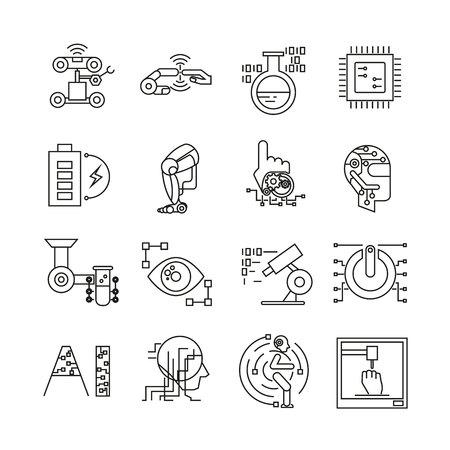 robotics and artificial intelligence icons, bold line Illustration