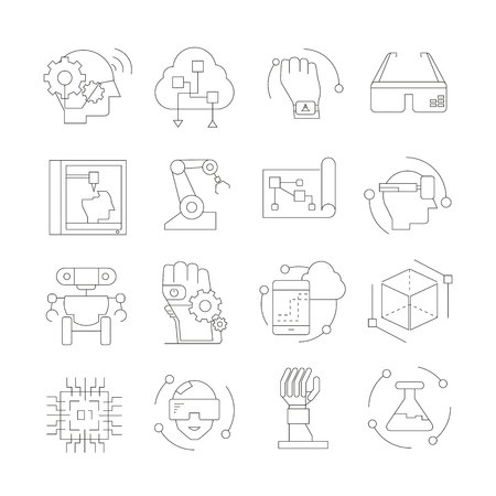 artificial intelligence and modern technology icons
