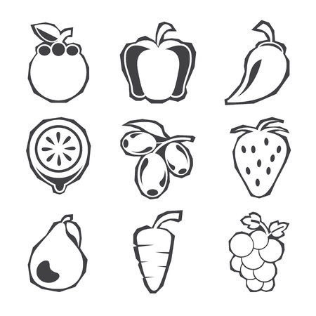 fruits  collection isolated on white
