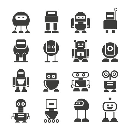 robot icons set, vector robot Illustration