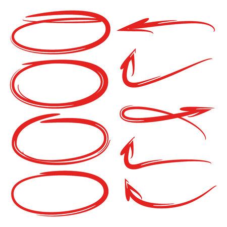 highlighter elements, hand drawn circles, arrows Illustration