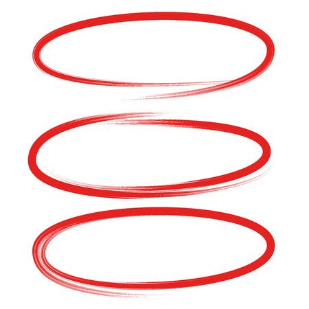 red circles and ovals marker elements Ilustração Vetorial