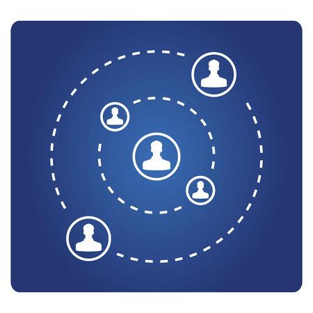 social network, global communication network connecting people Illusztráció