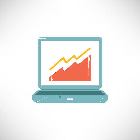 Computer and chart Ilustração