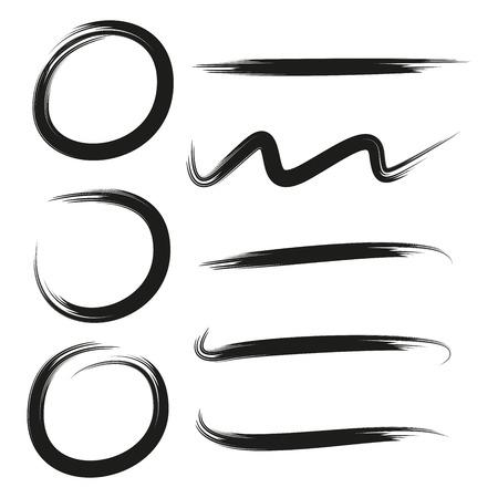 marcos vectoriales grunge, marcos circulares dibujados a mano, líneas de pincel, subrayados