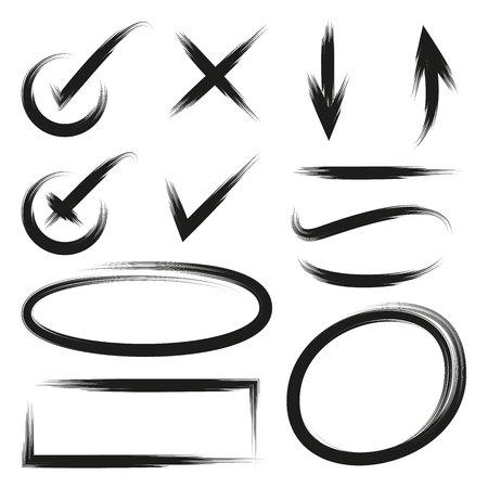 Garrapatas, marca de verificación y flechas Ilustración de vector