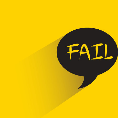 speech bubble with fail word on yellow background Ilustração