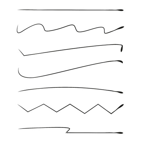 brush lines set and underlines elements Vectores