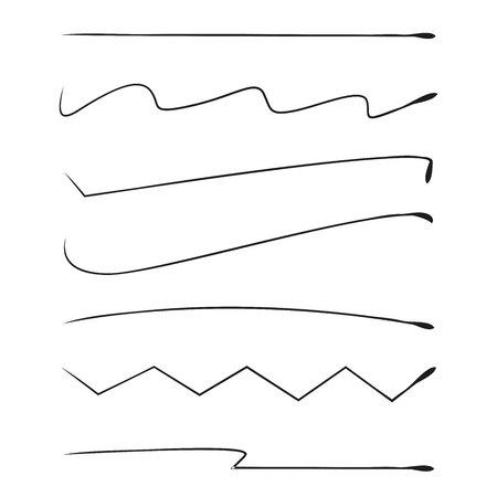 brush lines set and underlines elements Ilustração