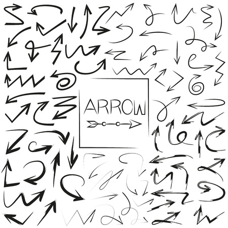 vector set of hand drawn arrows Stock Illustratie