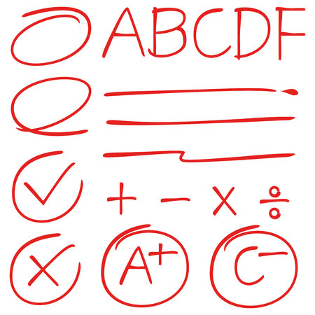 grade marks, check marks, circle markers and underlines isolated on white