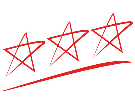 red hand drawn stars isolated on white  イラスト・ベクター素材