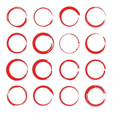set di pennarelli cerchio inchiostro rosso, cerchi zen Vettoriali