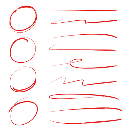 red hand drawn circle highlighters for marking text and lines Stock Vector - 109506141