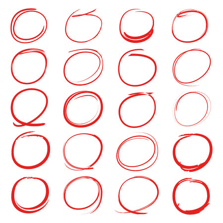 red circles and ovals marker elements