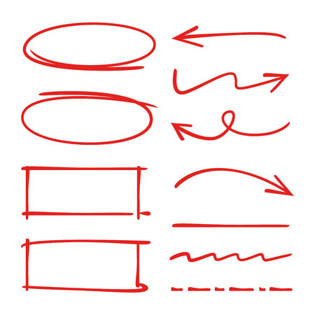 red hand drawn highlighter elements, arrows, underlines Illustration