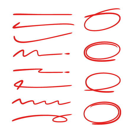 red hand drawn circle highlighters for marking text and lines
