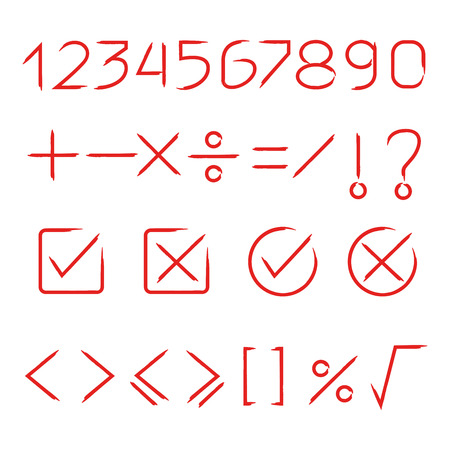 red hand drawn math signs and number