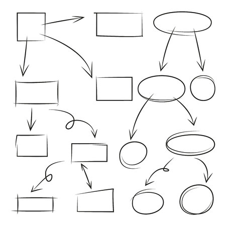 hand drawn arrows, circle and rectangle for flowchart diagram Vectores