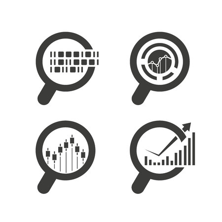 magnifier glass and graph, data analytics icons