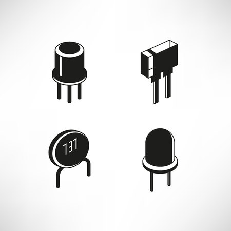 electronic components icons, resistor, transistor, capacitor