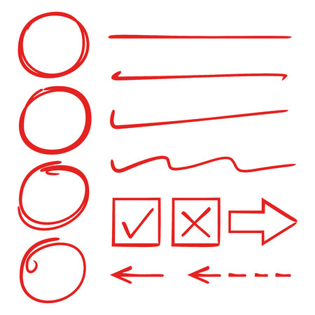 éléments de marqueur rouge, cercle, soulignements