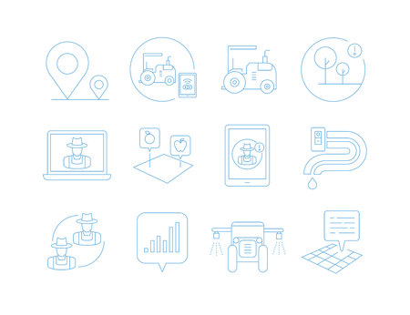 smart agriculture, farm icons