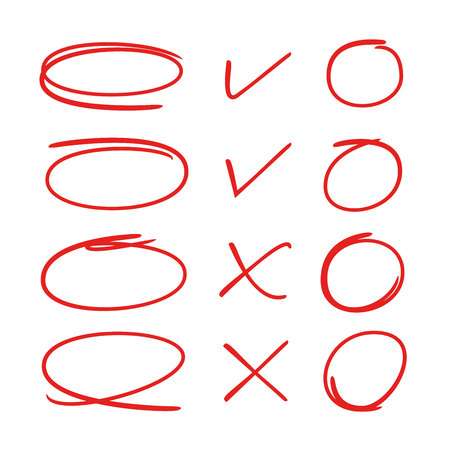 red hand drawn circles and check marks