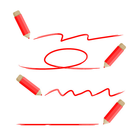 red pencil highlighting underlines and circle marker