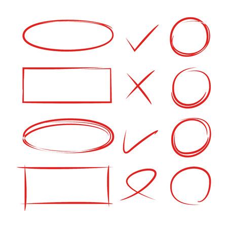 hand drawn circles, frames and check marks