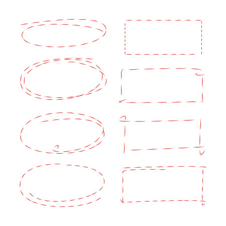 dashed circle and rectangle frames
