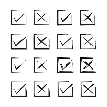 grunge and hand drawn check marks Vector Illustratie