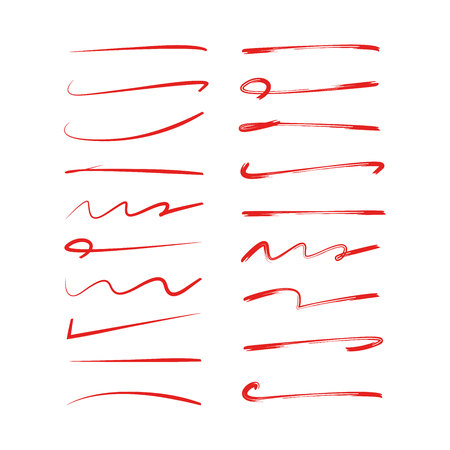 red underline set, brush lines Stock Vector - 113172765