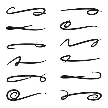 conjunto de subrayados líneas de letras, líneas de pincel Ilustración de vector