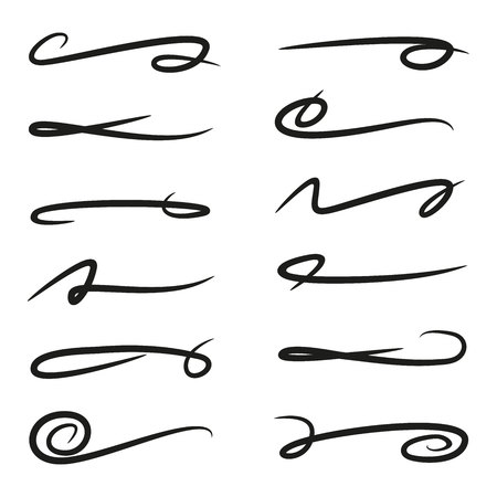 set of underlines lettering lines, brush lines Ilustrace