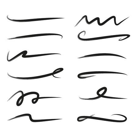 set onderstreept belettering lijnen, penseel lijnen Vector Illustratie