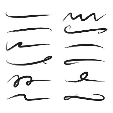 zestaw podkreślenia linii literowych, linii pędzla Ilustracje wektorowe