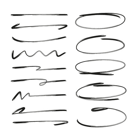 collection of hand drawn underlines and circle markers Stock Vector - 112312452