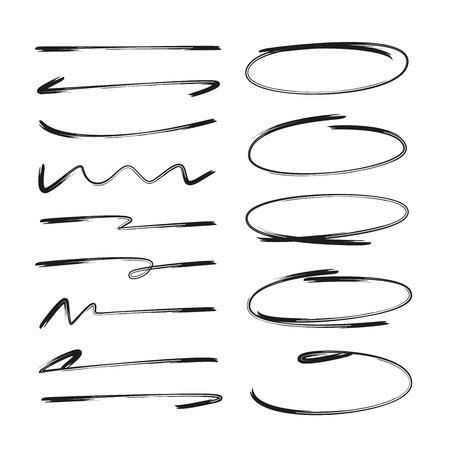 Sammlung von handgezeichneten Unterstreichungen und Kreismarkierungen Vektorgrafik