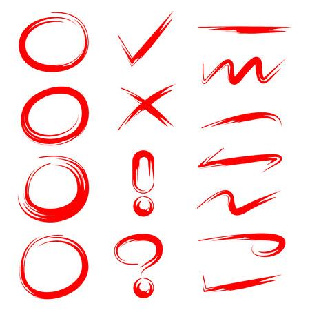 círculo rojo, marca de verificación y línea de garabatos para resaltar el texto Ilustración de vector