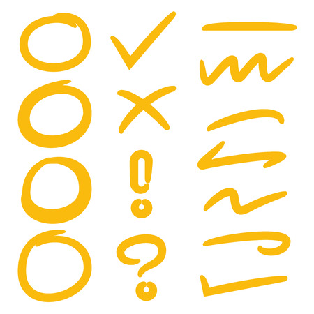 yellow hand drawn circles, check mark and underlines for marking text