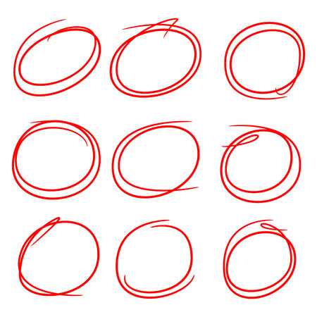 red hand drawn circles for marking text