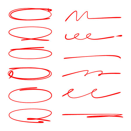 red circle and hand drawn brush lines