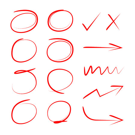 red hand drawn circles and arrows Stock Vector - 104150103