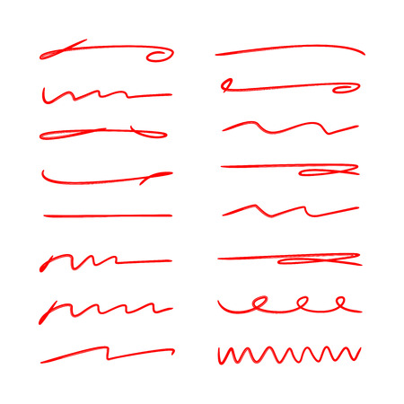 red hand drawn brush lines