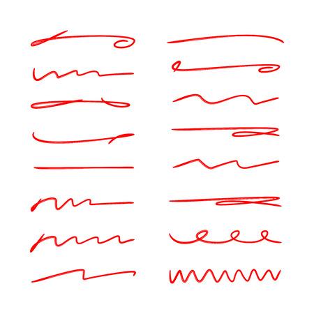 red hand drawn brush lines