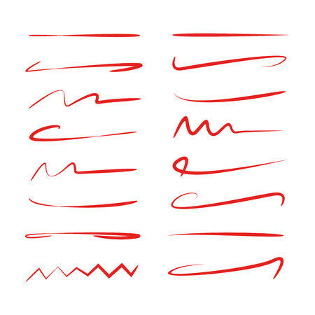 red brush stroke set Stock Vector - 108397998