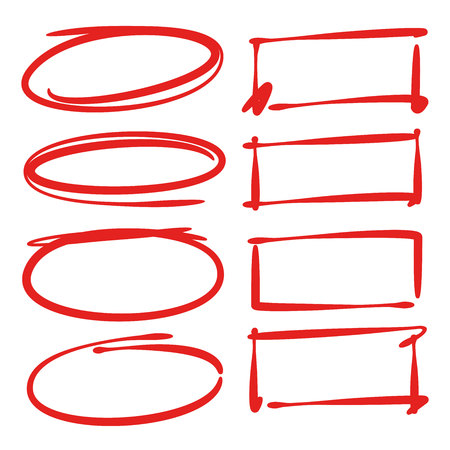 red hand drawn oval and rectangle frame