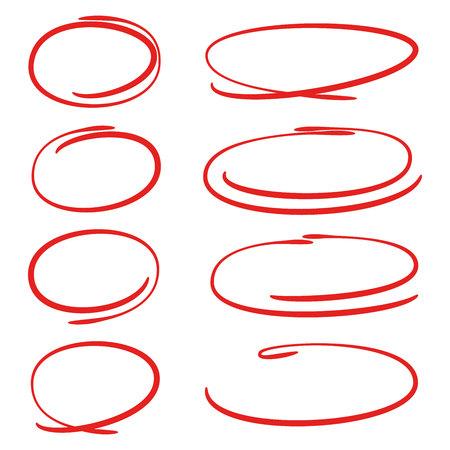 cercle dessiné à la main rouge pour marquer le texte Vecteurs